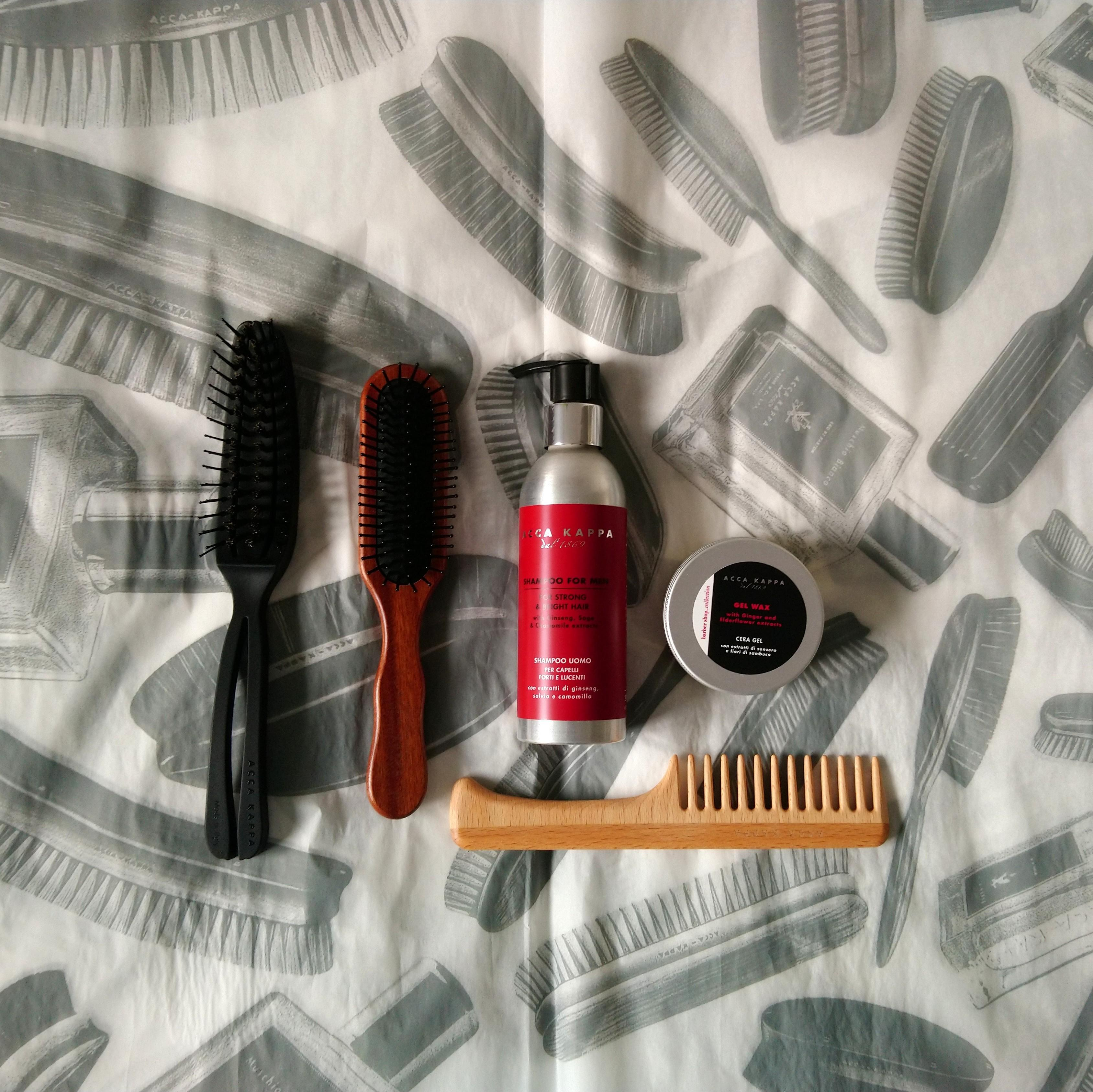 The Airy No.3, Pneumatic Kotibe Wood Pom Pin Hairbrush, The Barbershop Men's Shampoo, The Barbershop Collection Styling Gel Wax and The Beechwood Coarse Tooth Comb