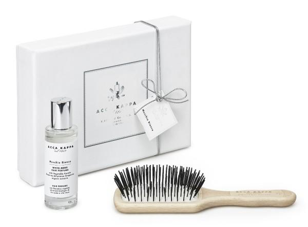 White Moss Gift Set with Hair Perfume and Beechwood Travel Protection Brush