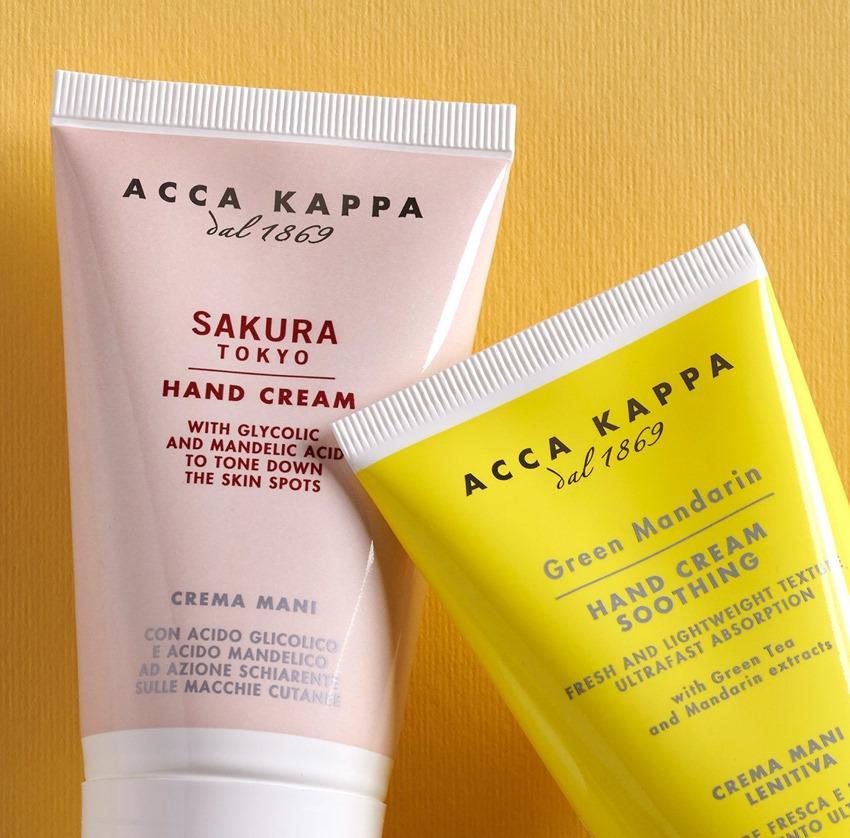 Pictured: The ACCA KAPPA Sakura Tokyo and Green Mandarin Hand Cream