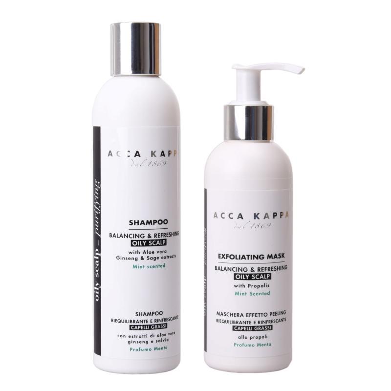 The Balancing & Refreshing Shampoo and Scalp Exfoliating Mask by ACCA KAPPA
