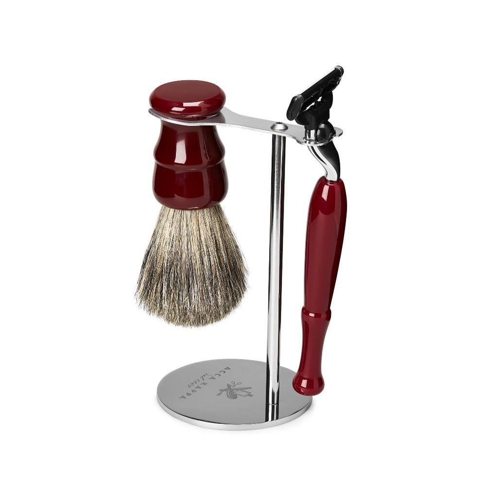 The Eye Catching Venetian Red Shaving Set complete with Badger Brush and Mach 3 Razor is a treasure for the bathroom shelf