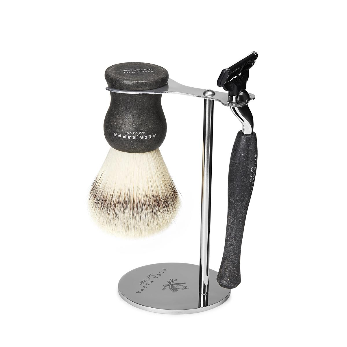 ACCA KAPPA 3-Piece Natural Black Shaving Set with Synthetic Fibre Brush, Mach3 Razor and Stand