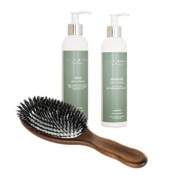 The Fine Hair Starter Kit with Shampoo, Conditioner and Kotibe Wood Natural Bristle Brush