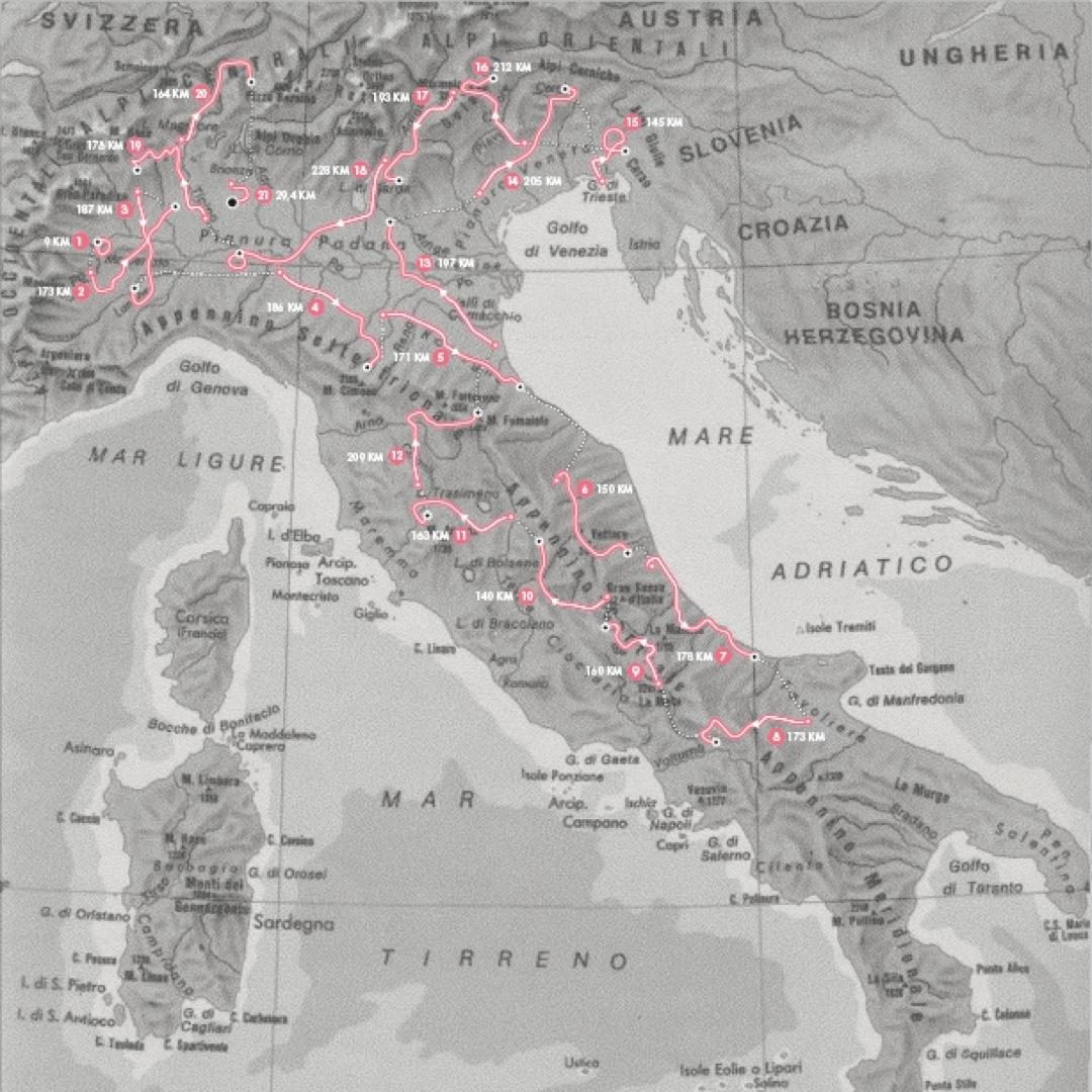 The official 2021 route of Giro d'Italia, spanning a total of 3479.9km
