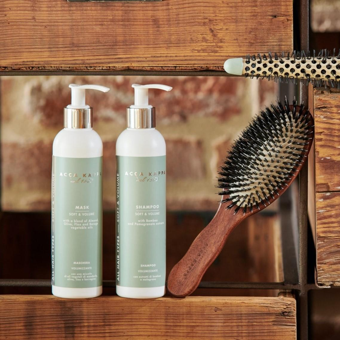 Pictured: The Soft & Volume Shampoo and Mask by Acca Kappa