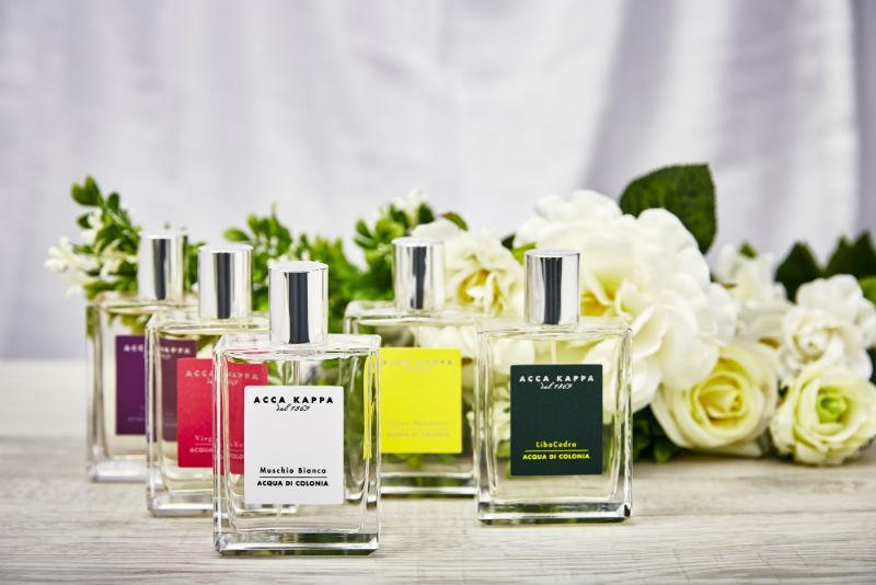 Eau de Parfum Fragrances by ACCA KAPPA, including iconic White Moss in front