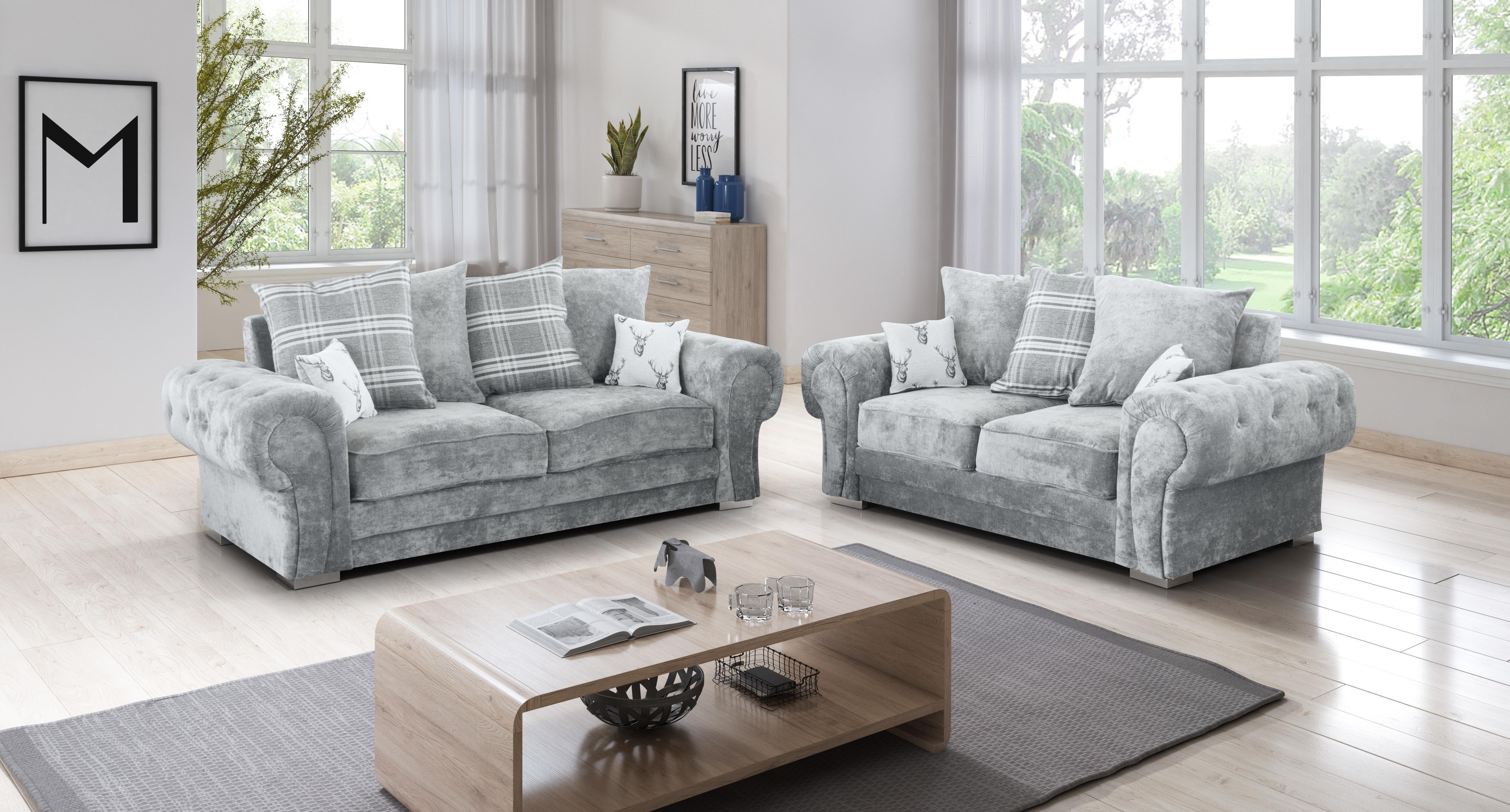 NEW Verona Sofas Suite 3+2 or Corner Sofa Silver Fabric
