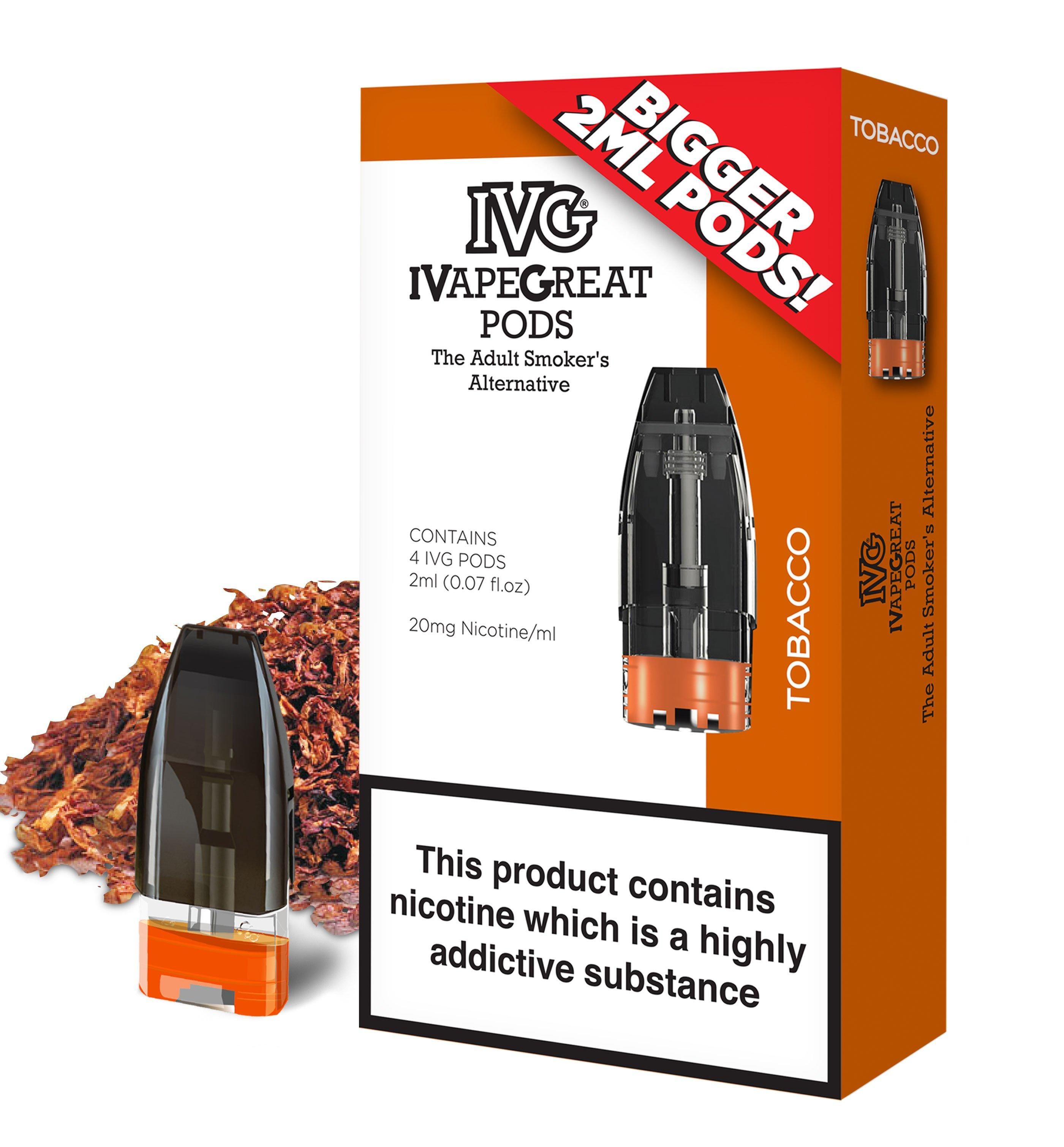 IVG Tobacco flavour replacement pods for the IVG Pod Kit - 4 pack