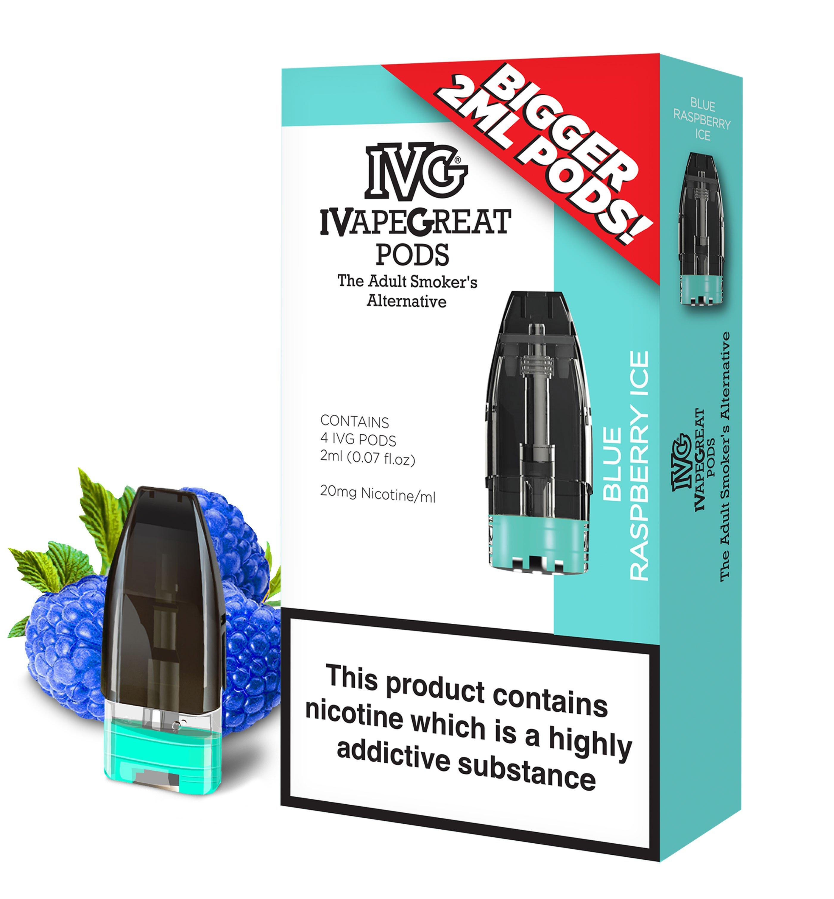 IVG Blue Raspberry flavour replacement pods for the IVG Pod Kit - from Which Vape Ltd