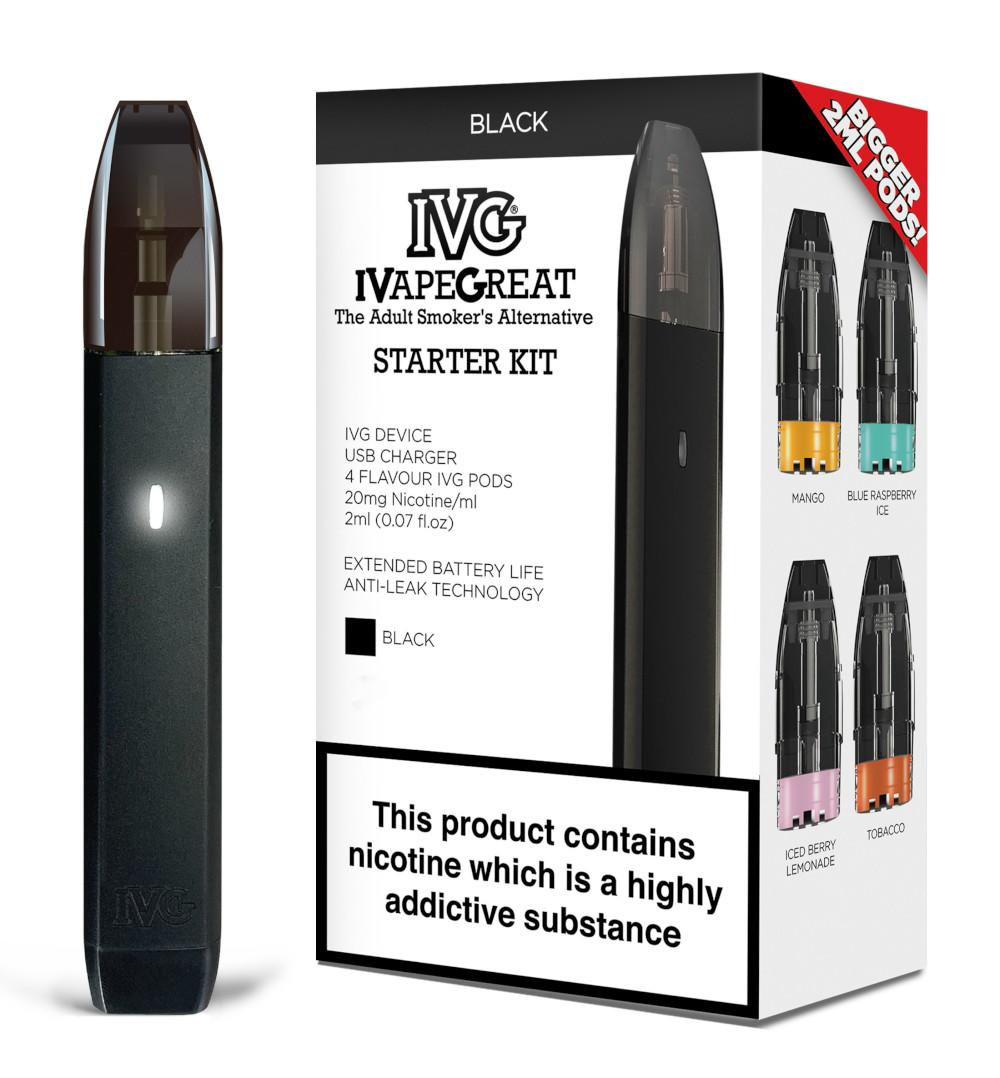 IVG Vape Pod Starter Kit in black from Which Vape Ltd