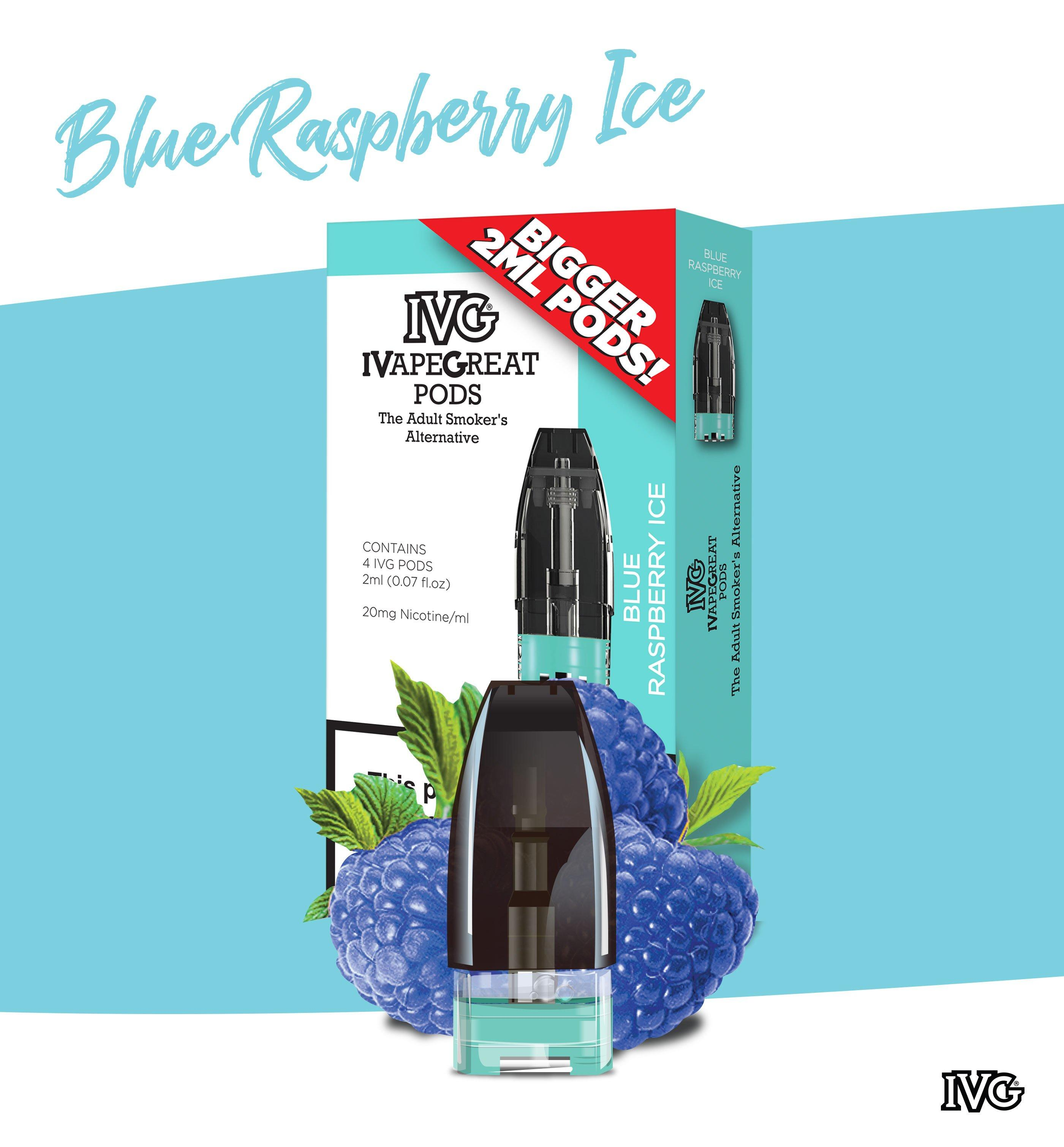 IVG Blue Raspberry flavour replacement pods for the IVG Pod Kit - 4 pack