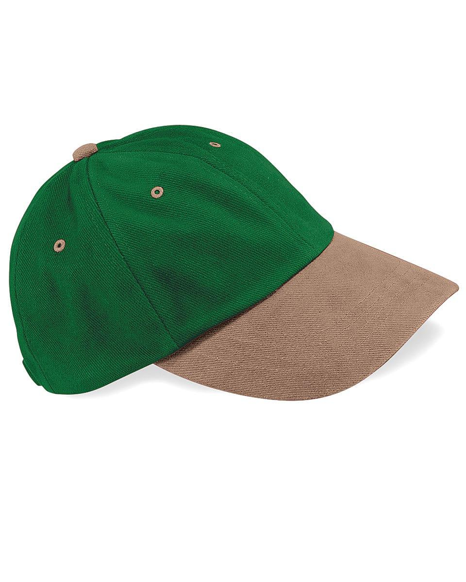 Beechfield LP Heavy Brushed Cotton Cap in Forest Green / Taupe (Product Code: B57)