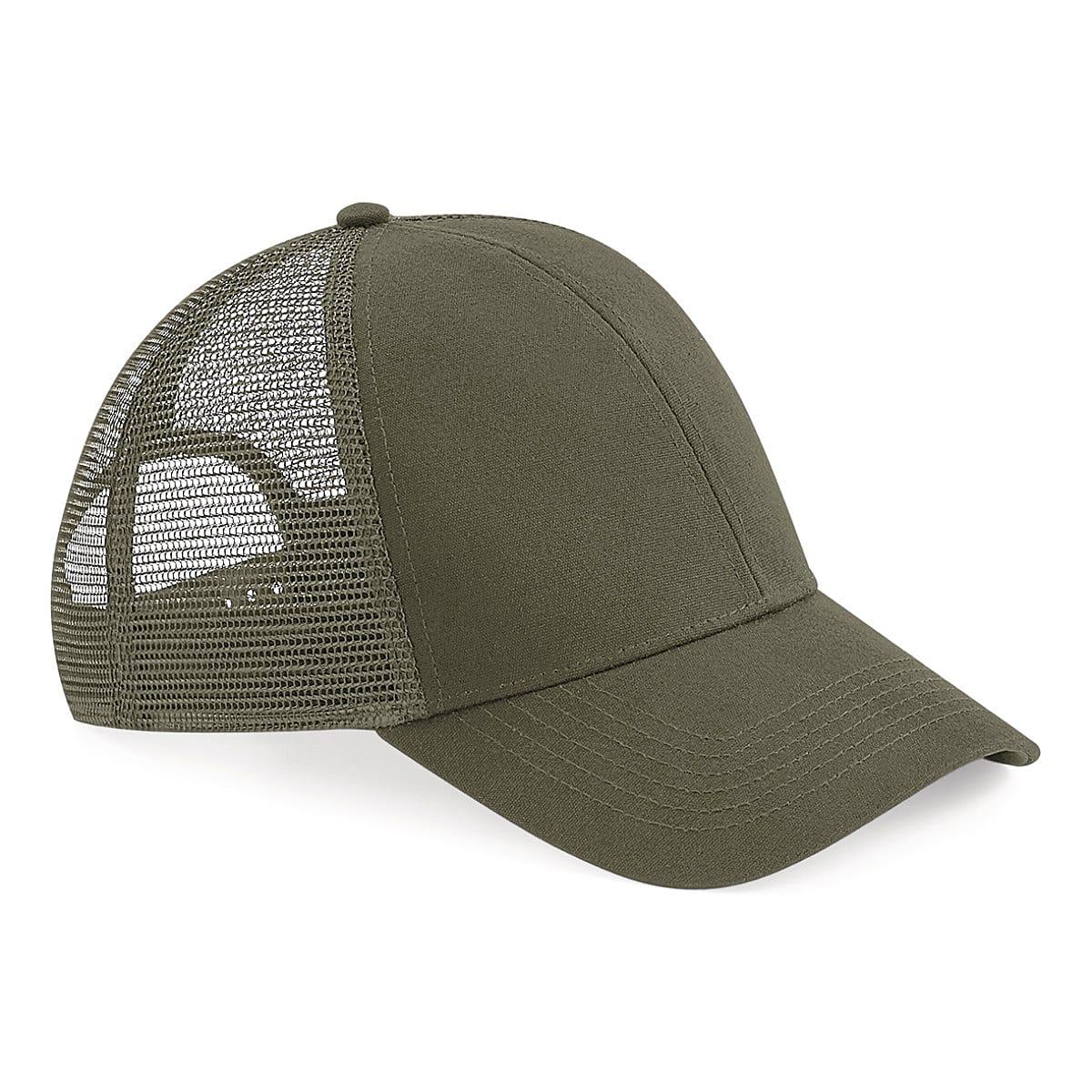 Beechfield Organic Cotton Trucker Cap in Olive (Product Code: B60)