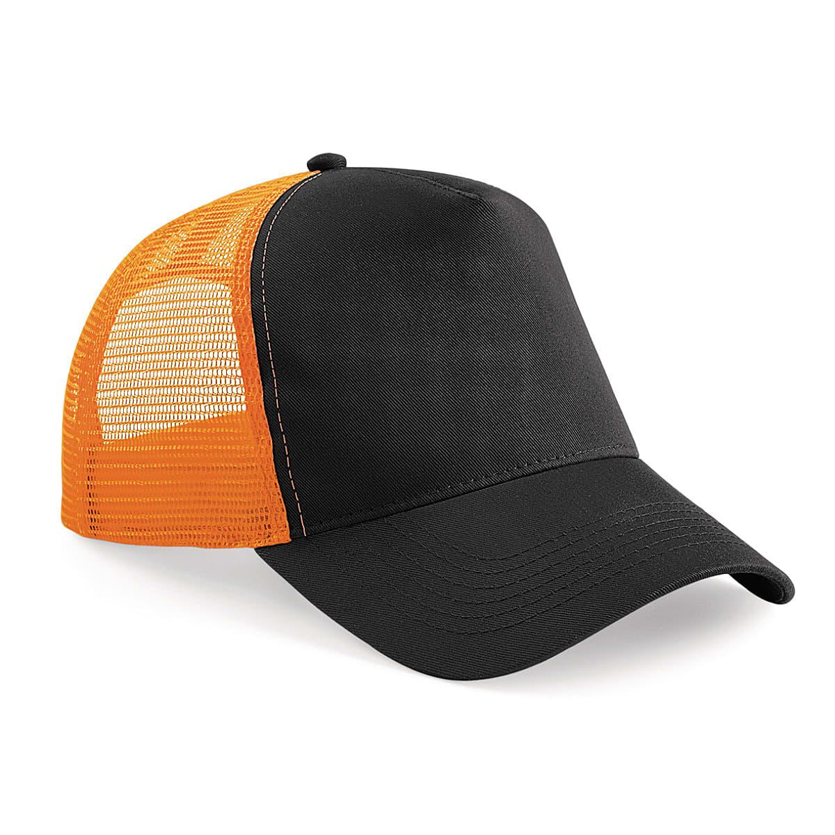 Beechfield Snapback Trucker Cap in Black / Orange (Product Code: B640)