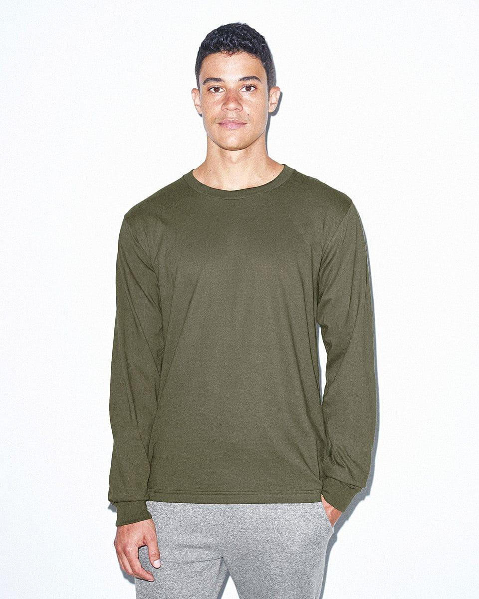 American Apparel Unisex Fine Jersey LS T-Shirt in Lieutenant (Product Code: 2007W)
