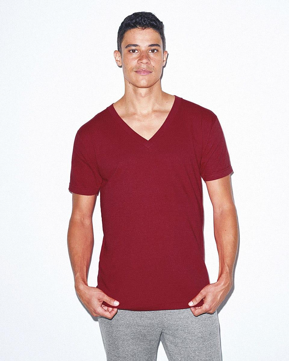 American Apparel Fine Jersey V-Neck T-Shirt in Cranberry (Product Code: 2456W)