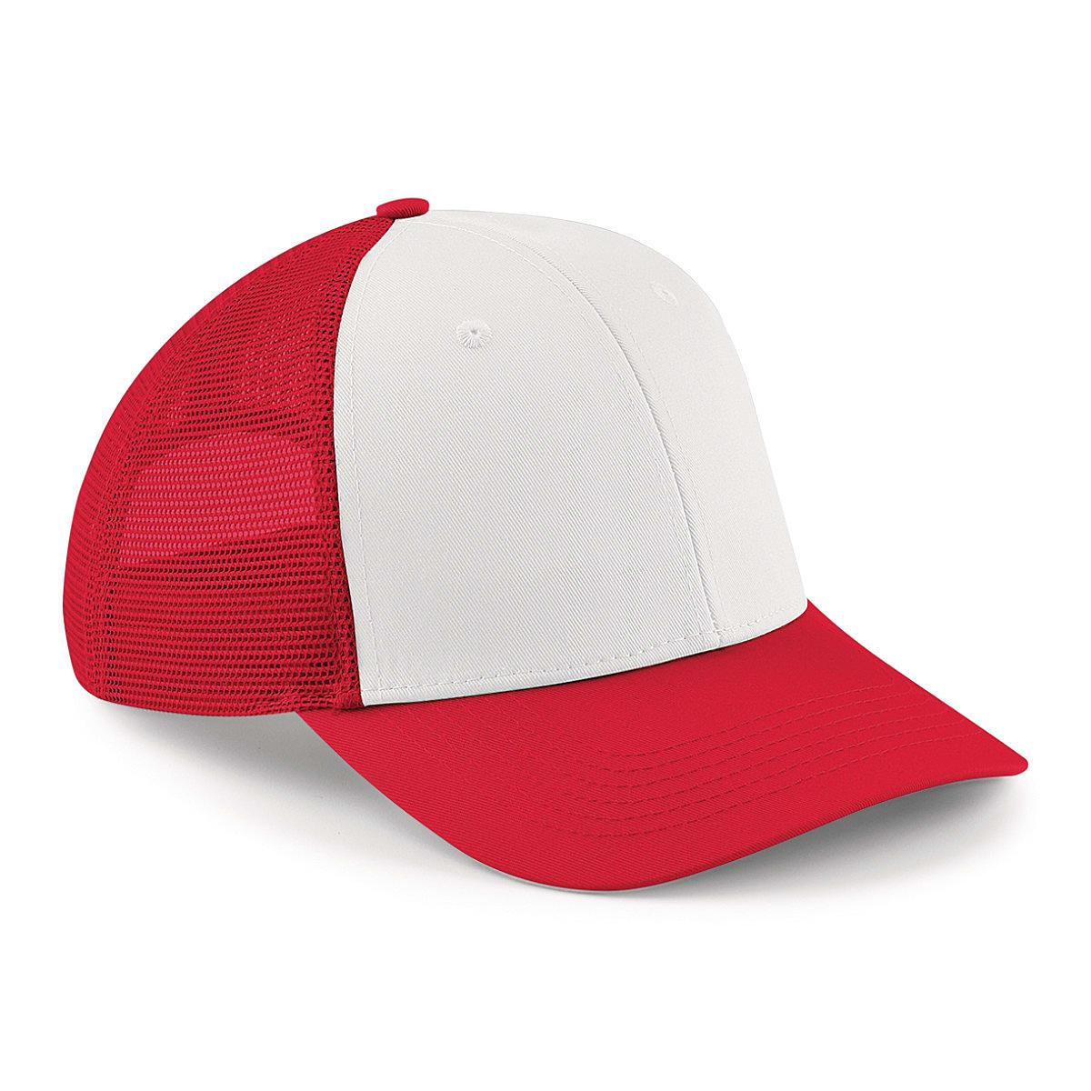 Beechfield 6 Panel Snapback Trucker Cap in Classic Red / White (Product Code: B647)