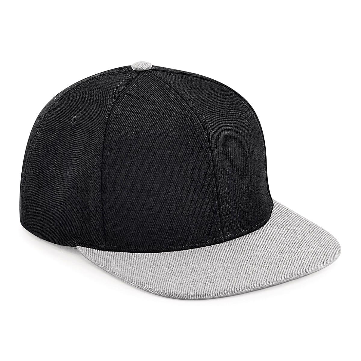 Original Flat Peak 6 Panel Snapback Cap in Black / Grey (Product Code: B661)