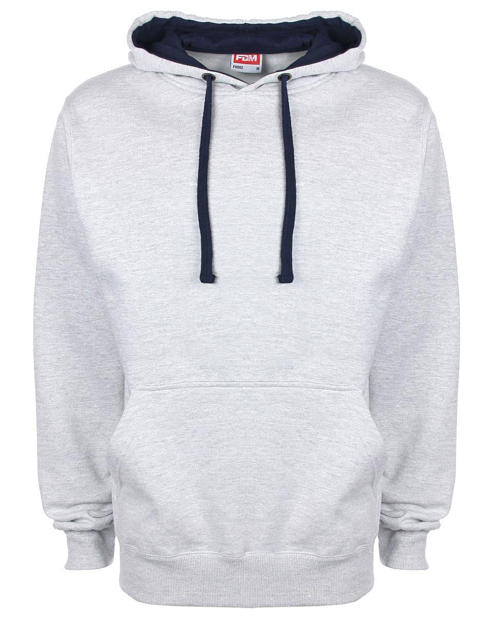 FDM Unisex Contrast Hoodie in Heather Grey / Navy (Product Code: FH002)