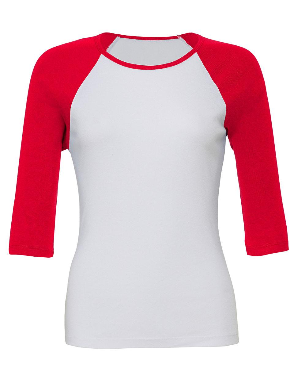 Bella Womens 3/4 Contrast T-Shirt in White / Red (Product Code: BE2000)