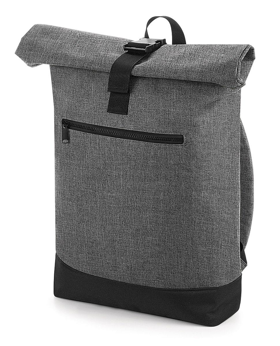 Bagbase Roll-Top Backpack in Grey Marl / Black (Product Code: BG855)