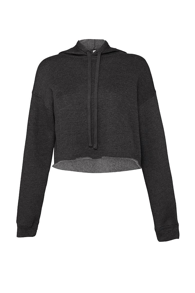 Bella+Canvas Womens Cropped Fleece Hoodie in Dark Grey Heather (Product Code: BE7502)