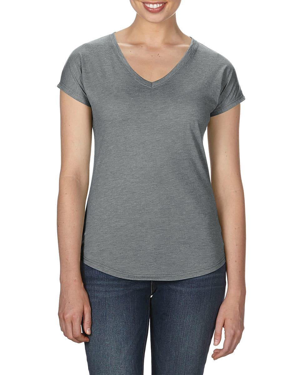 Anvil Womens Tri-Blend V-Neck T-Shirt in Heather Graphite (Product Code: 6750VL)