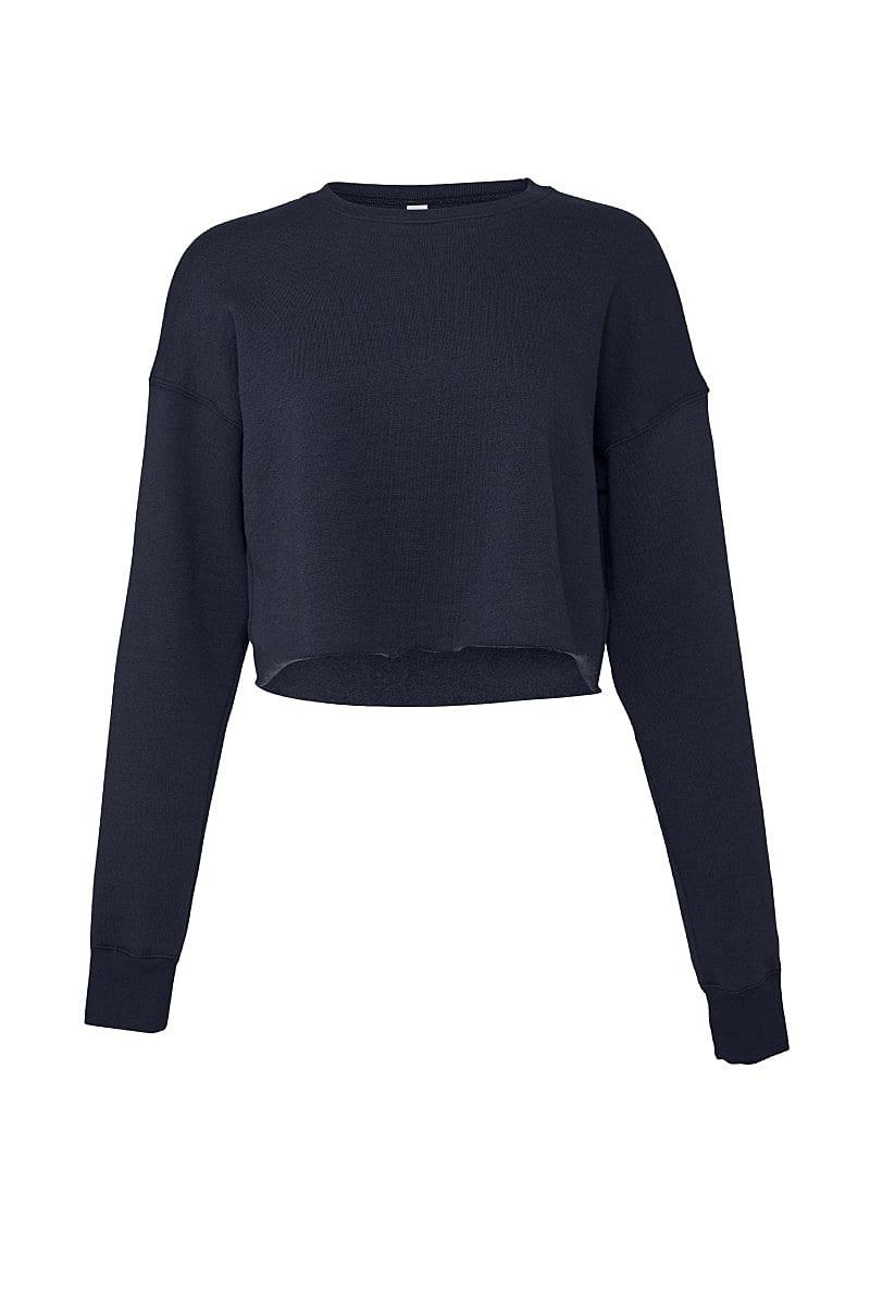 Bella+Canvas Womens Cropped Fleece Crew in Navy Blue (Product Code: BE7503)