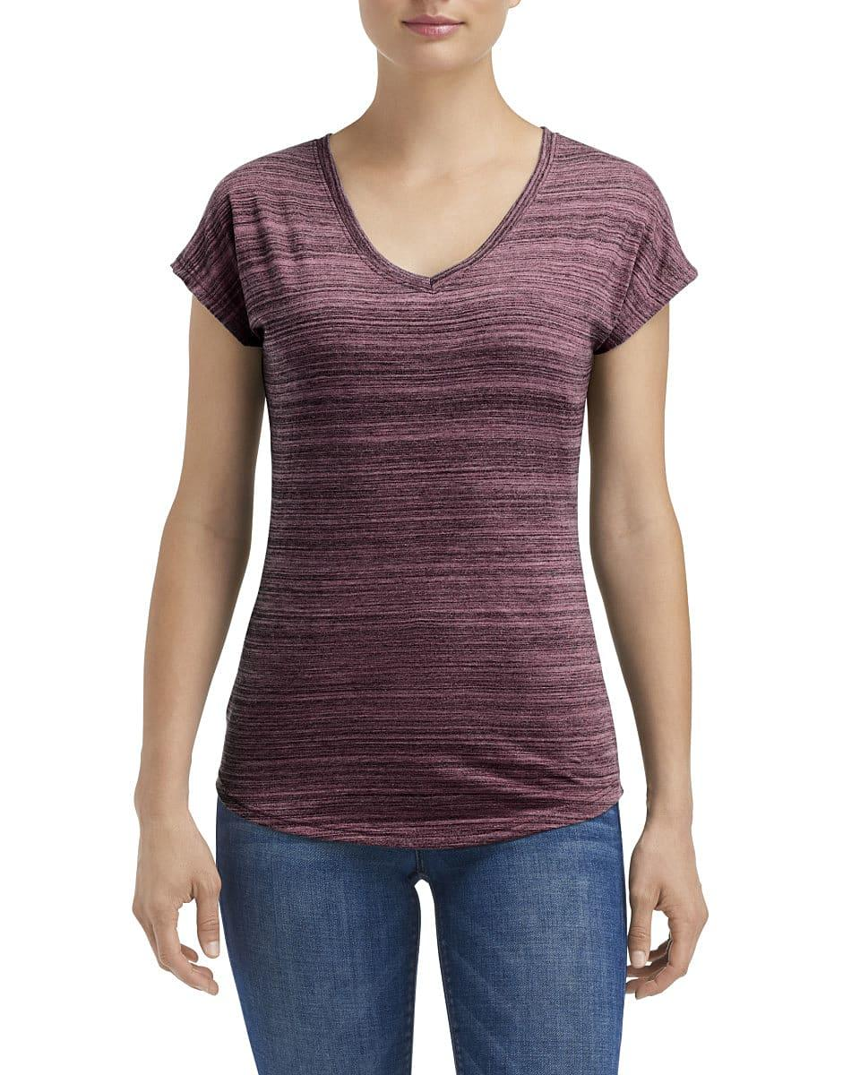 Anvil Womens Streak T-Shirt in ID Maroon (Product Code: 675VIDL)