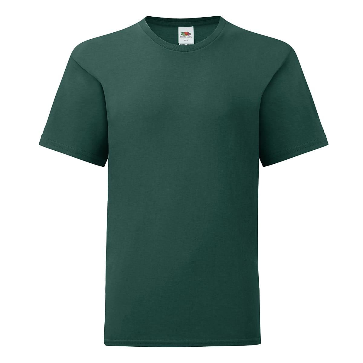 Fruit Of The Loom Kids Iconic T-Shirt in Forest Green (Product Code: 61023)