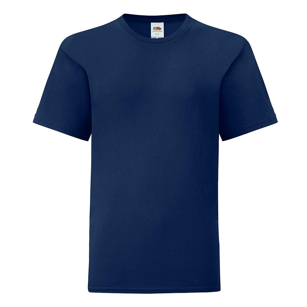 Fruit Of The Loom Kids Iconic T-Shirt in Navy Blue (Product Code: 61023)