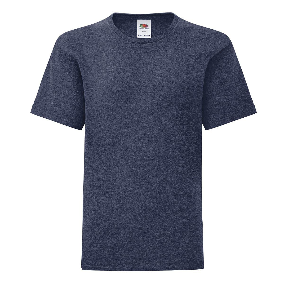 Fruit Of The Loom Kids Iconic T-Shirt in Vintage Heather Navy (Product Code: 61023)