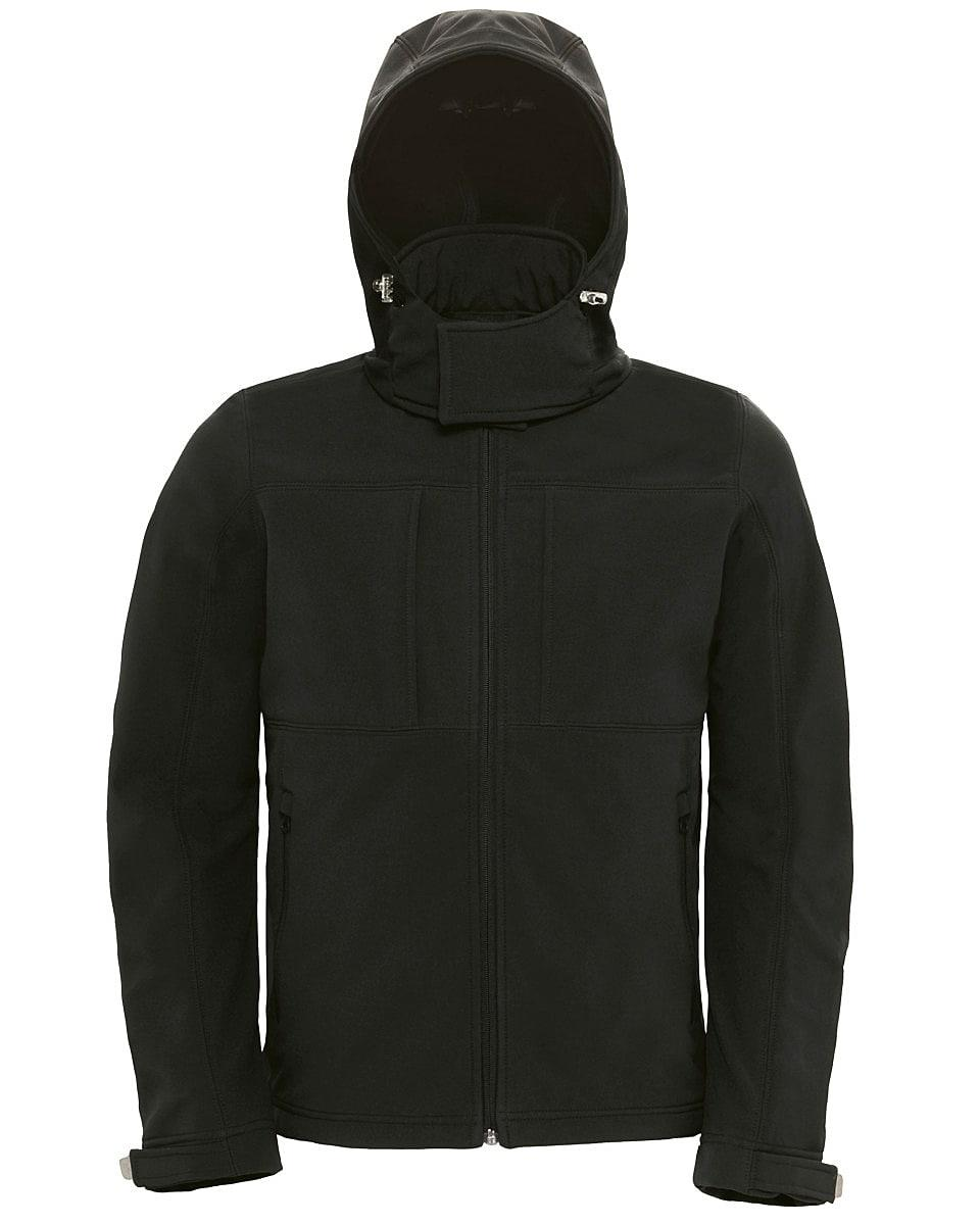 B&C Mens Hooded Softshell Jacket in Black (Product Code: JM950)