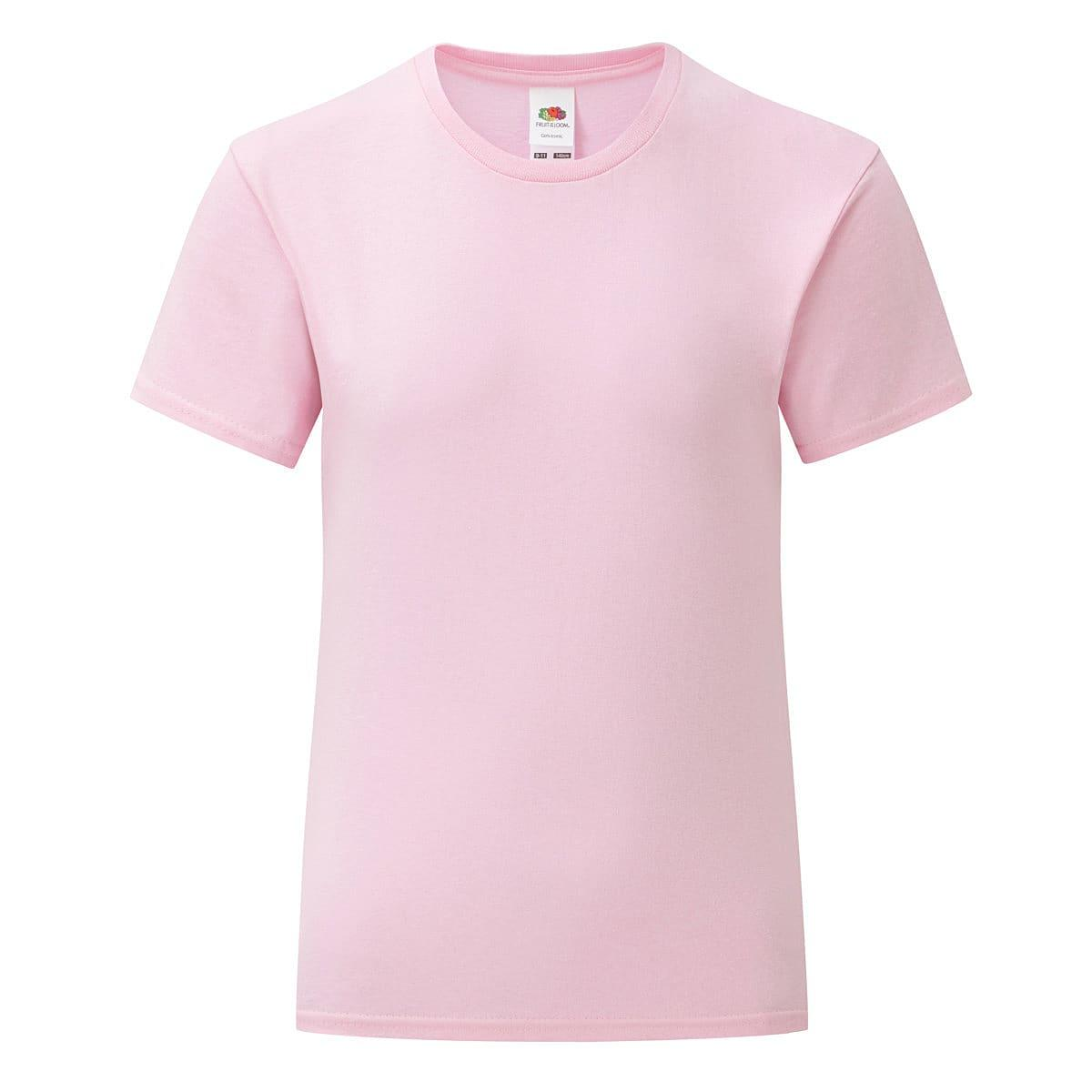 Fruit Of The Loom Girls Iconic T-Shirt in Light Pink (Product Code: 61025)