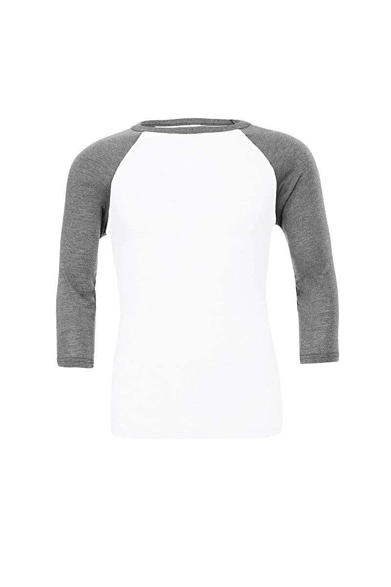 Bella Canvas 3/4 Baseball T-Shirt in White / Deep Heather (Product Code: CA3200)