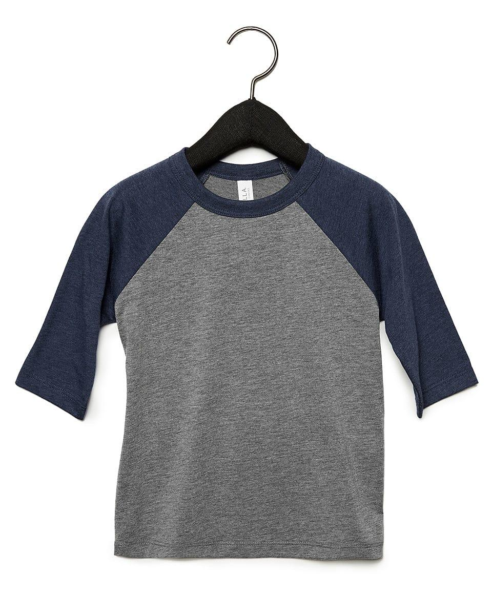 Bella Canvas Toddler 3/4 Baseball T-Shirt in Grey / Navy Triblend (Product Code: CA3200T)