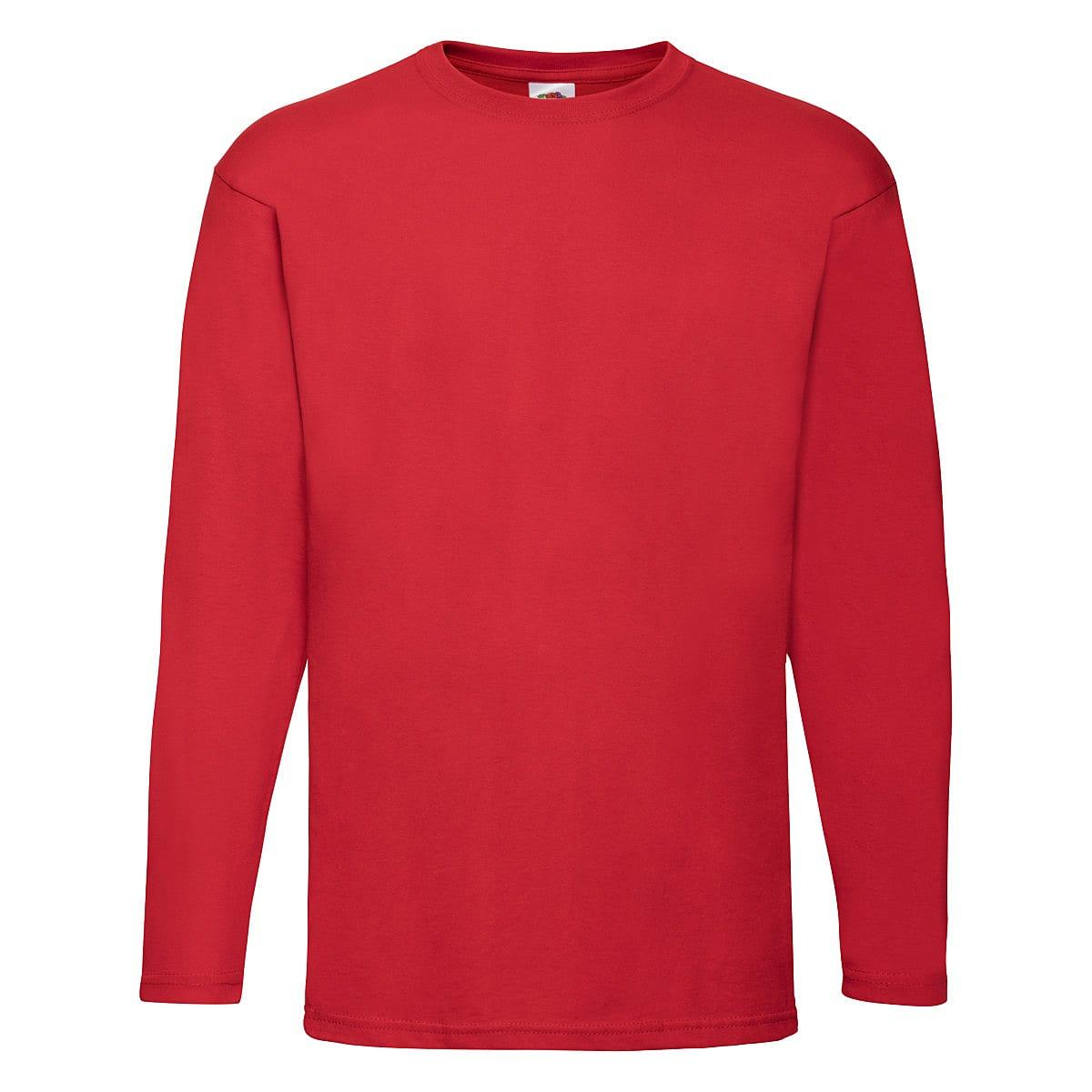 Fruit Of The Loom Valueweight Long-Sleeve T-Shirt in Red (Product Code: 61038)