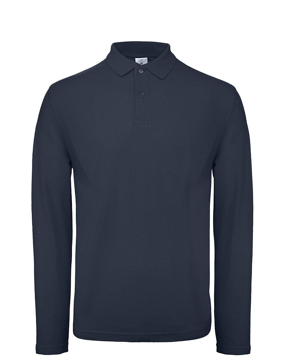 B&C Mens ID.001 Long-Sleeve Polo Shirt in Navy Blue (Product Code: PUI12)