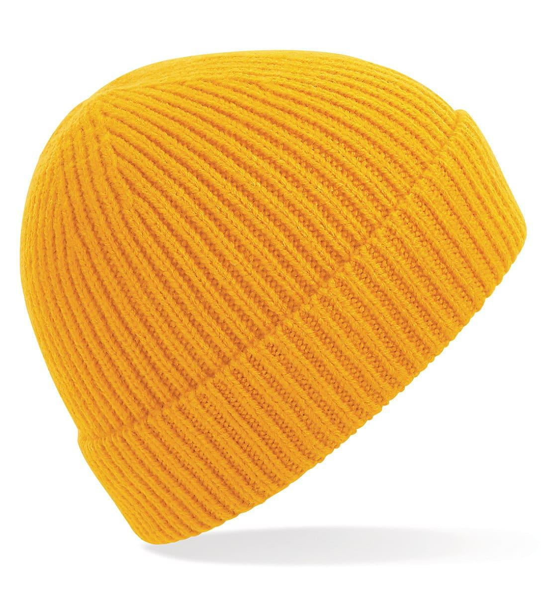 Beechfield Engineered Knit Ribbed Beanie Hat in Sun Yellow (Product Code: B380)