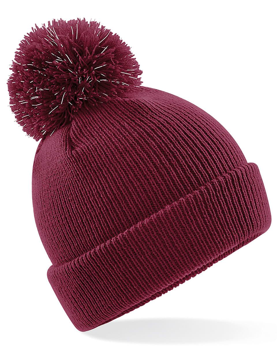 Beechfield Junior Reflective Beanie Hat in Burgundy (Product Code: B406B)