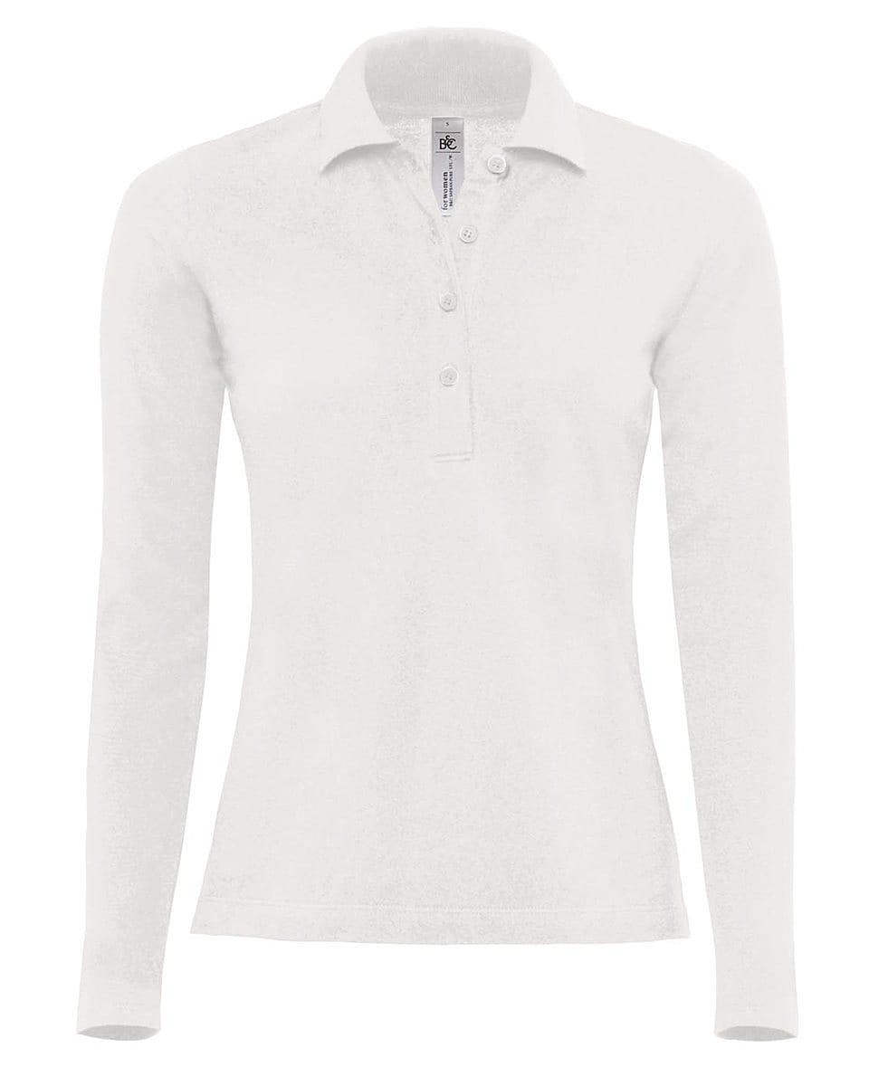 B&C Womens Safran Pure Long-Sleeve Polo Shirt in White (Product Code: PW456)