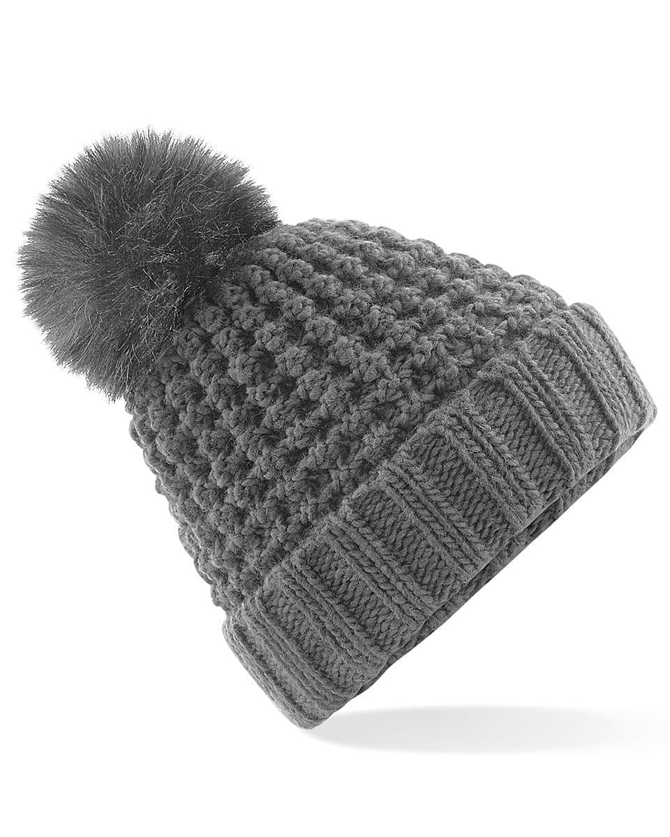 Beechfield Popcorn Fur Pop Pom Beanie Hat in Graphite Grey (Product Code: B415)