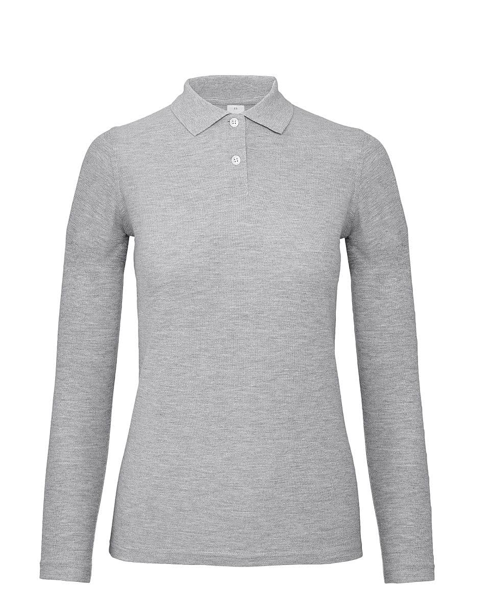 B&C Womens ID.001 Long-Sleeve Polo Shirt in Heather Grey (Product Code: PWI13)