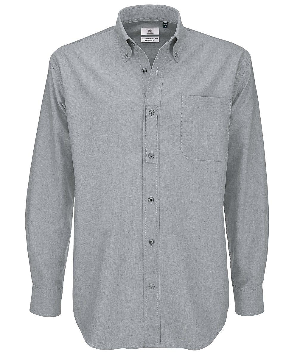 B&C Mens Oxford Long-Sleeve Shirt in Silver Moon (Product Code: SMO01)