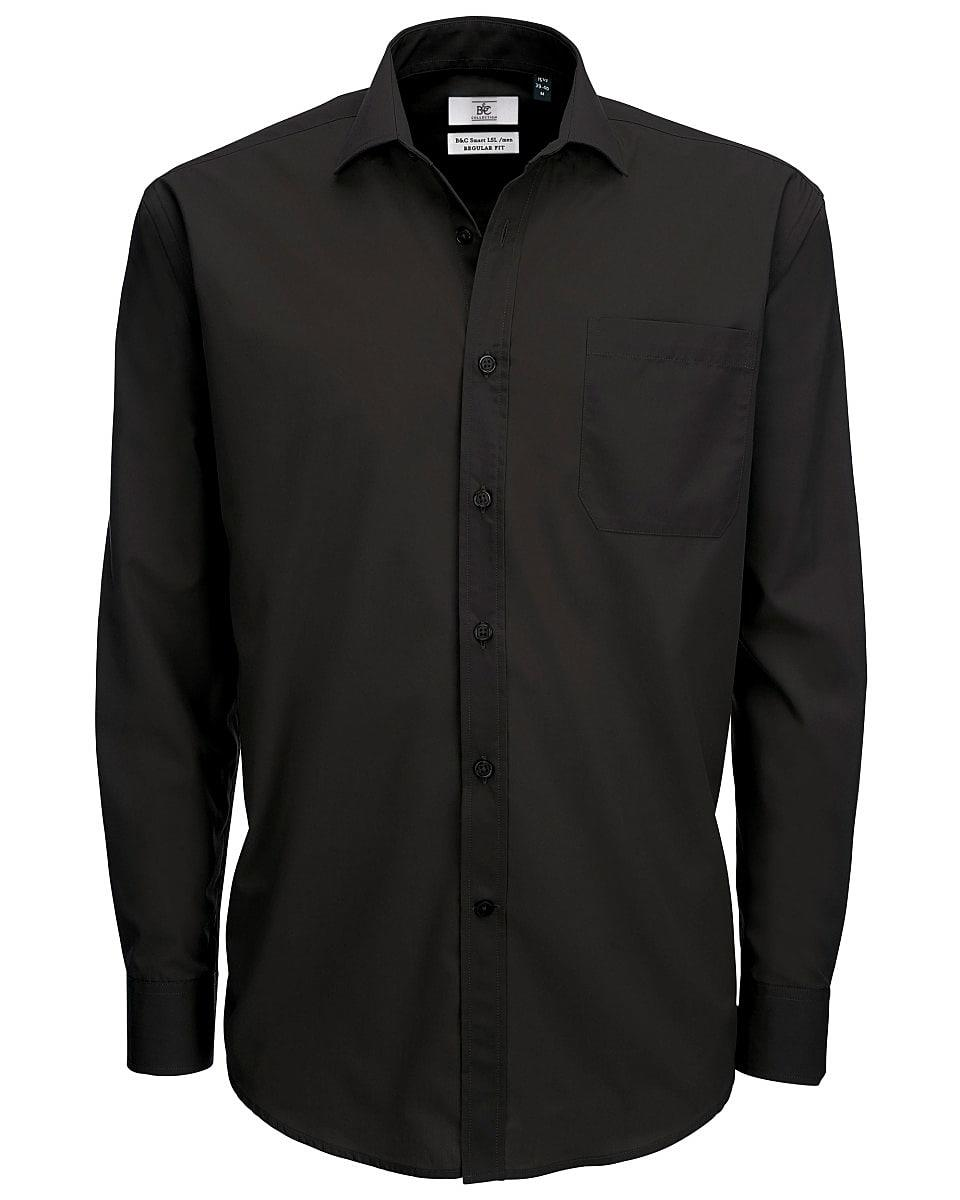 B&C Mens Smart Long-Sleeve Poplin Shirt in Black (Product Code: SMP61)