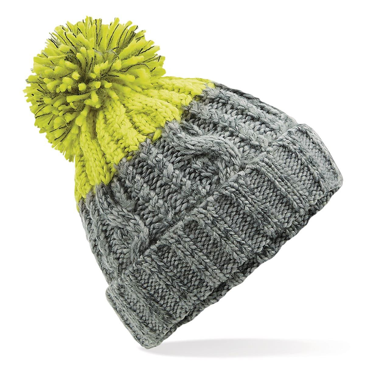 Beechfield Apres Beanie Hat in Light Grey / Citron (Product Code: B437)
