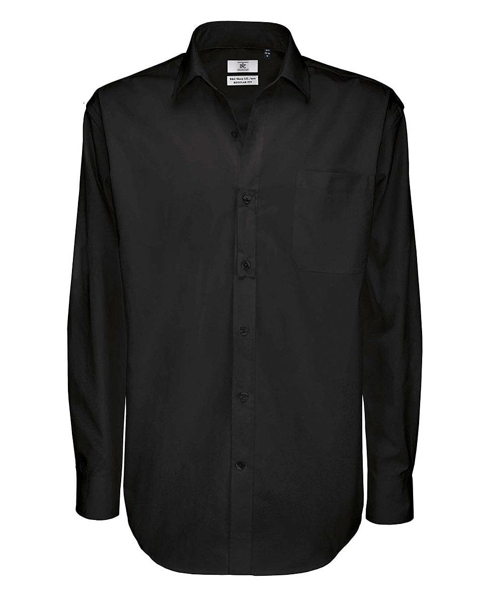 B&C Mens Sharp Twill Cotton Long-Sleeve Shirt in Black (Product Code: SMT81)
