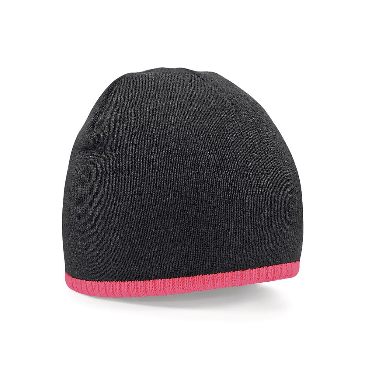 Beechfield Two-Tone Beanie Knitted Hat in Black / Fluorescent Pink (Product Code: B44C)
