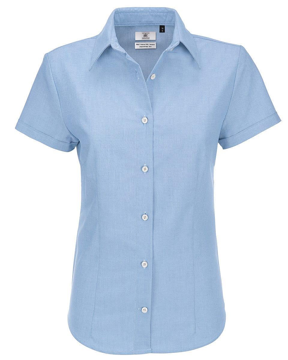 B&C Womens Oxford Short-Sleeve Shirt in Oxford Blue (Product Code: SWO04)