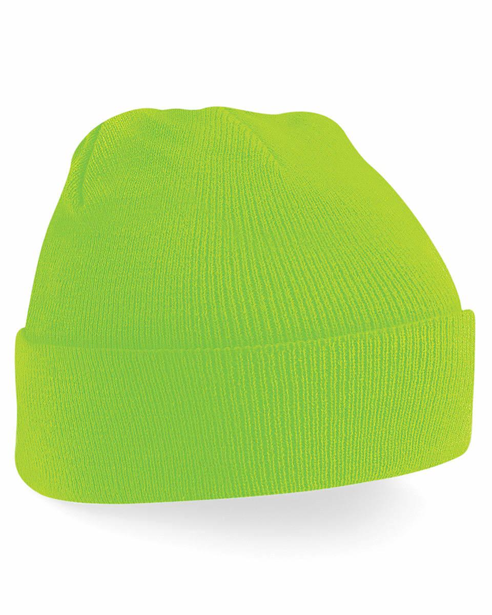 Beechfield Original Cuffed Beanie Hat in Fluorescent Green (Product Code: B45)